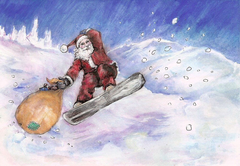 Snowboarding Santa by Depictions