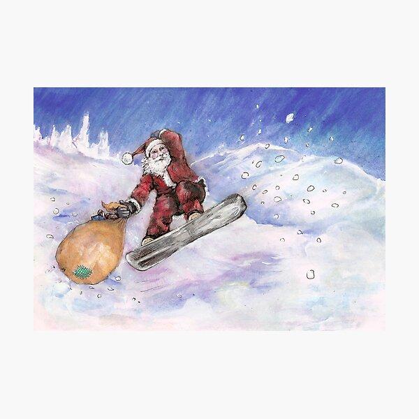 Snowboarding Santa Photographic Print