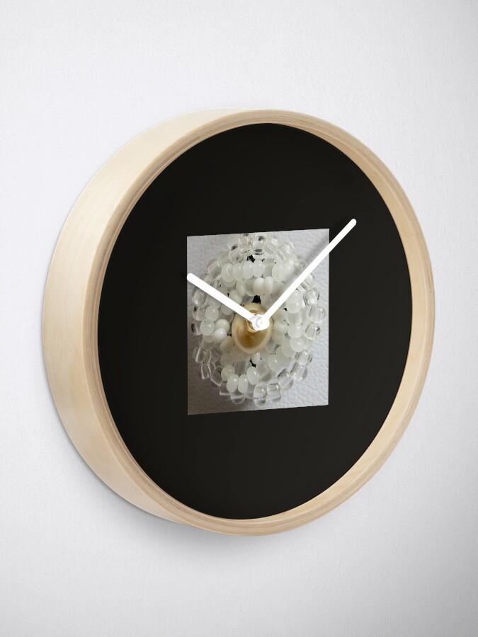 Alternate view of Christmas design White beaded flower Clock