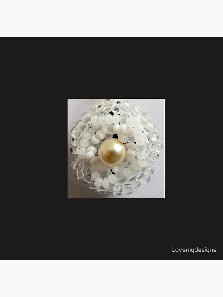 Christmas design White beaded flower by Lovemydesigns