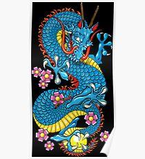 Blue Cherry Blossom Tattoo Dragon Poster
