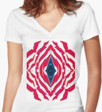 The Old Red, White, and Blue Abstract Women's Fitted V-Neck T-Shirt