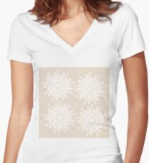 Pastel Pink and White Large Mandala Flower Women's Fitted V-Neck T-Shirt