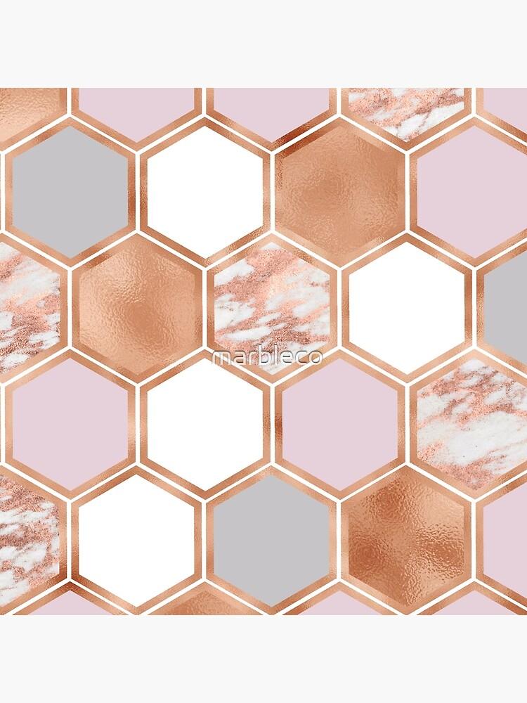 Gemischte Roségoldrosa und Marmor geometrisch von marbleco