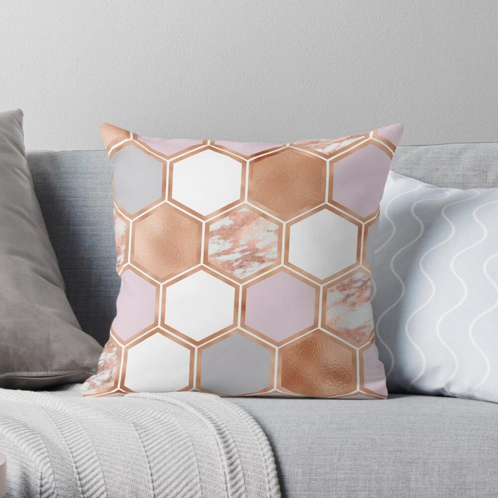 Gemischte Roségoldrosa und Marmor geometrisch Dekokissen