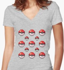 Pixel Poké Balls Women's Fitted V-Neck T-Shirt
