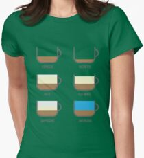 Coffee Types Barista Illustration Womens Fitted T-Shirt