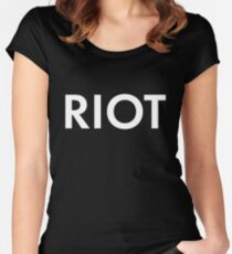RIOT white Women's Fitted Scoop T-Shirt