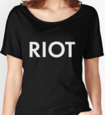 RIOT white Women's Relaxed Fit T-Shirt