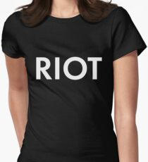 RIOT white Women's Fitted T-Shirt