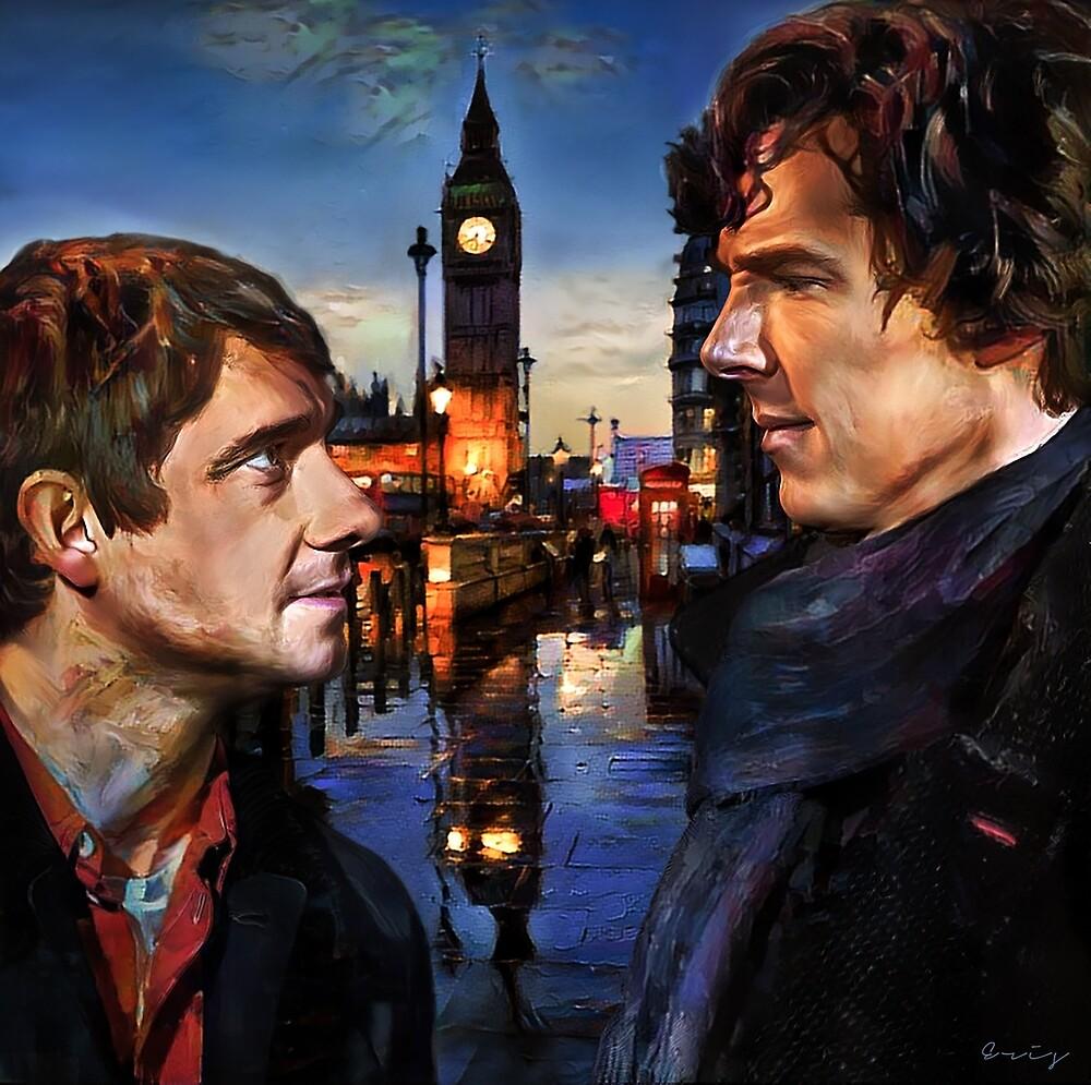 John and Sherlock in London by erisian