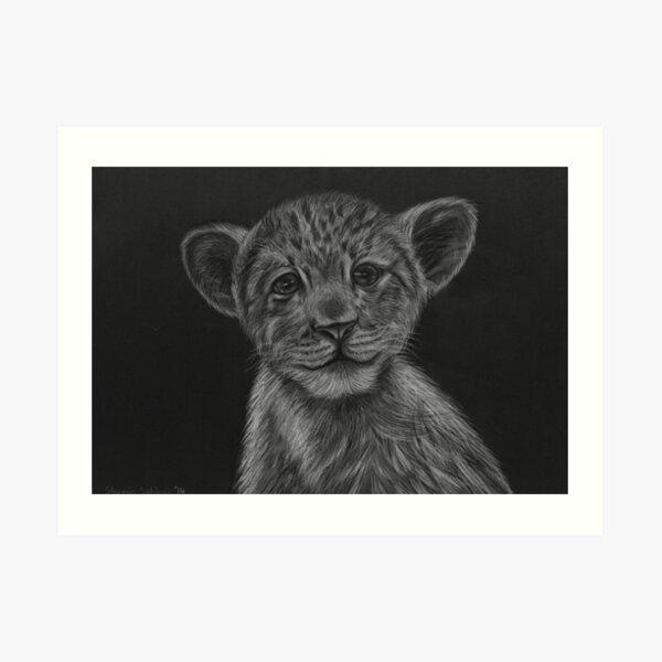 Lion cub sketch Art Print