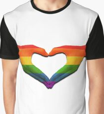 gay pride love heart hands Graphic T-Shirt
