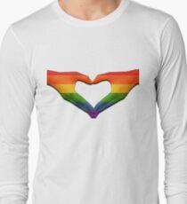 gay pride love heart hands Long Sleeve T-Shirt