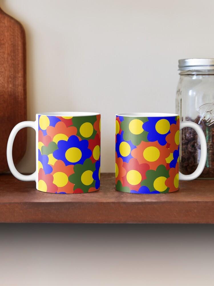 Alternate view of Colorful Flowers Red Blue Green Orange Mug
