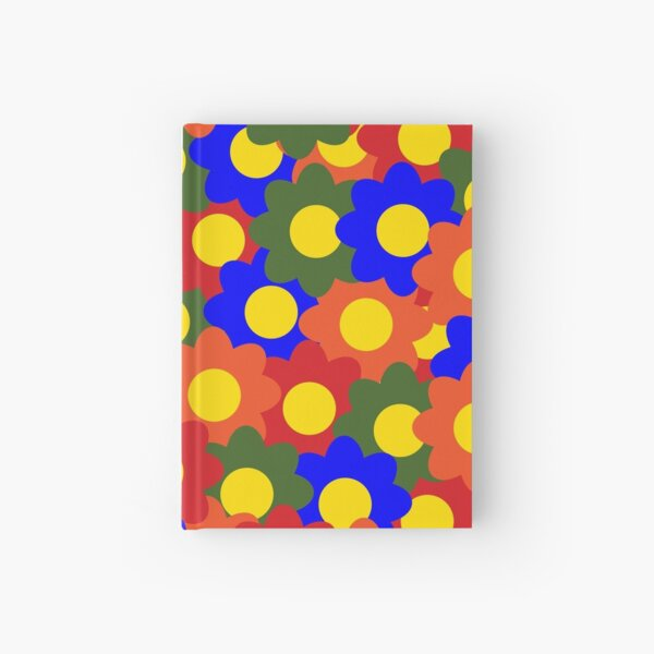 Colorful Flowers Red Blue Green Orange Hardcover Journal