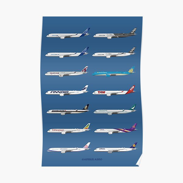 Airbus A350 Operators Illustration - Blue Version Poster