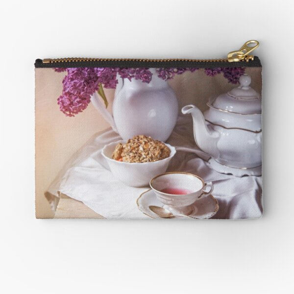 Still life with tea set and fresh lilac Zipper Pouch
