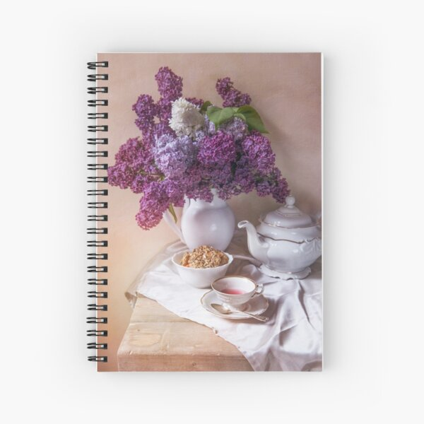 Still life with tea set and fresh lilac Spiral Notebook
