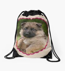 Sable Puppy in Heart Drawstring Bag