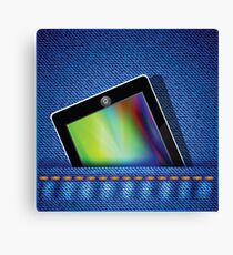 tablet computer on jeans background Canvas Print
