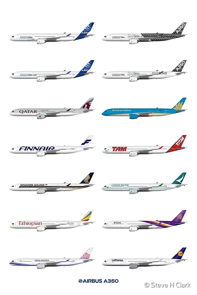 Airbus A350 Operators Illustration by © Steve H Clark