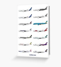 Airbus A350 Operators Illustration Greeting Card