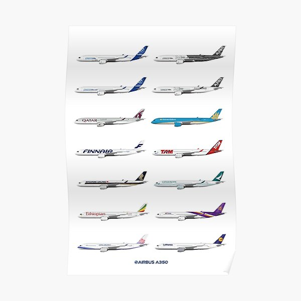 Airbus A350 Operators Illustration Poster