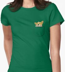 Pocket Corgi Pup Womens Fitted T-Shirt
