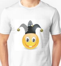 smile in a jester hat isolated on white background Unisex T-Shirt