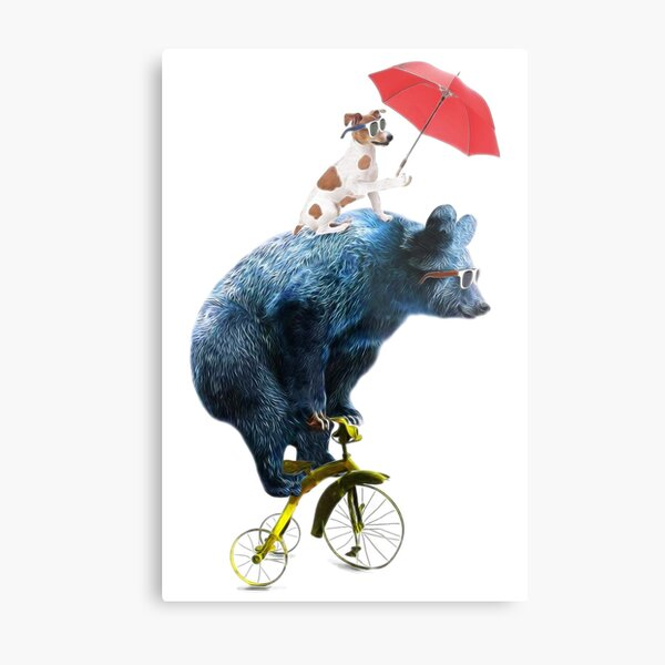 Bear And Dog On Tricycle Metal Print