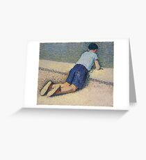 Henri Martin - The Boy Laying On The Board Of The Pool At The Garden Of Luxembourg At Paris, 1932-35 Greeting Card
