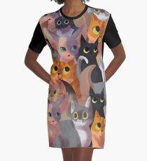 Lotsa cats Graphic T-Shirt Dress