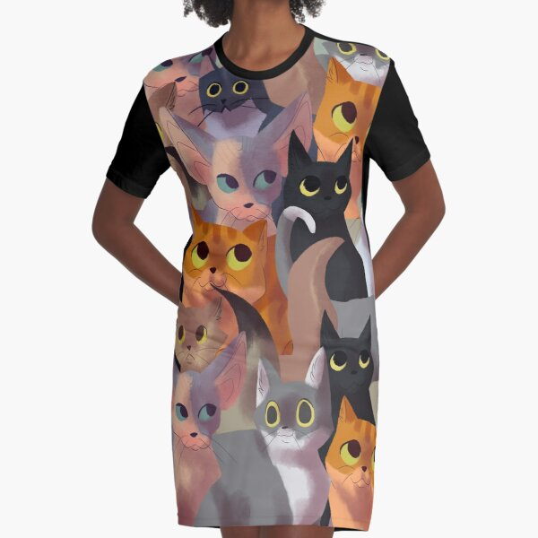 Lotsa cats Graphic T-Shirt Dress