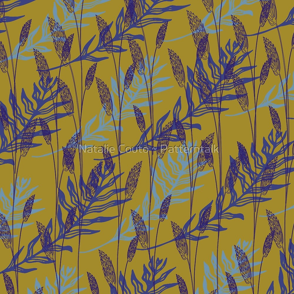 Wildgrasses-ochre by Natalie Couto ~ Patterntalk