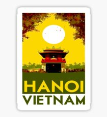 HANOI VIETNAM: Vintage Travel Advertising Print Sticker