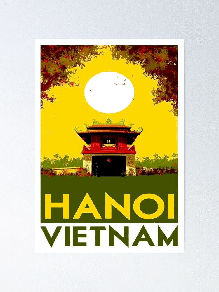 Alternate view of HANOI VIETNAM: Vintage Travel Advertising Print Poster