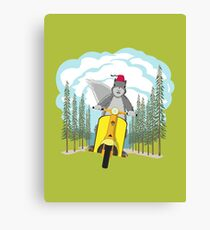 Squirrel on a Scooter Canvas Print