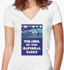 USA National Parks Vintage Poster Restored Women's Fitted V-Neck T-Shirt