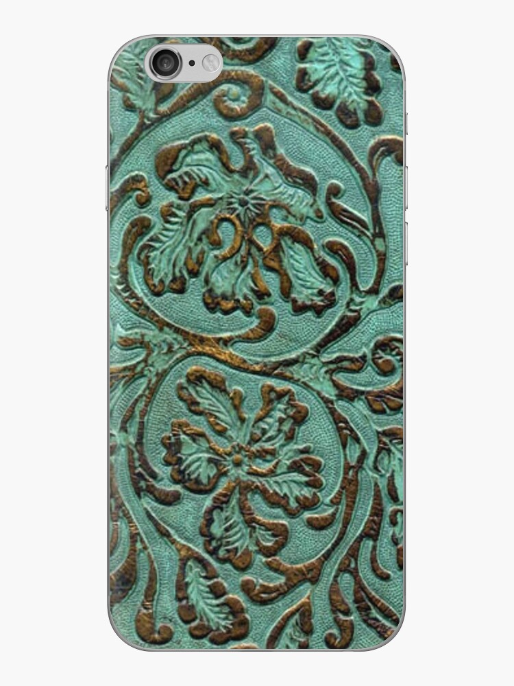 Aqua Flowers Tooled Leather iPhone Cover