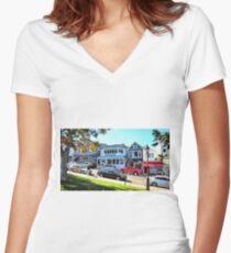 Main Street - Bar Harbor Women's Fitted V-Neck T-Shirt