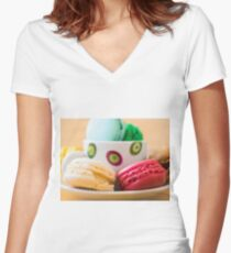 Macaroons Women's Fitted V-Neck T-Shirt