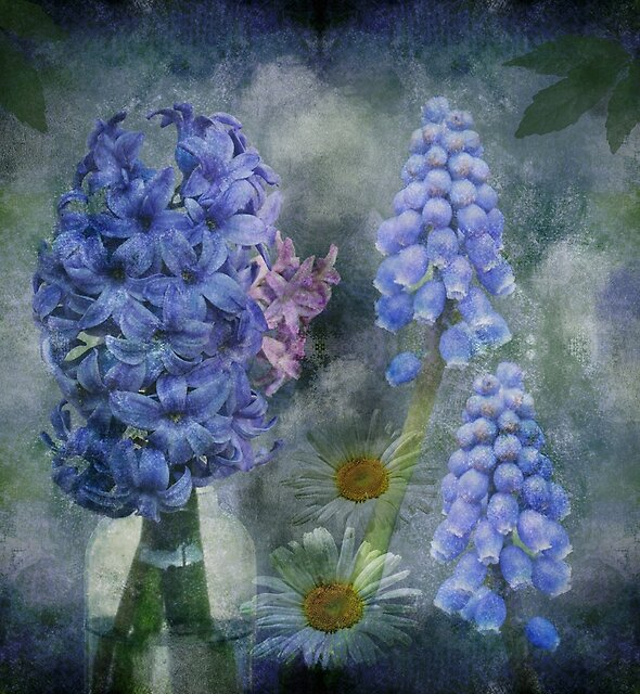 Spring flowers on a grunge painterly background by walstraasart