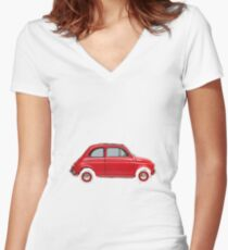 Fiat 50 clasic Women's Fitted V-Neck T-Shirt