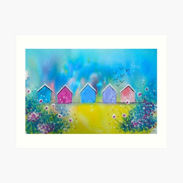 Colourful Beach Huts Art Print