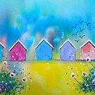 Colourful Beach Huts by FrancesArt
