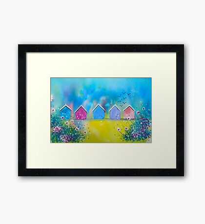 Colourful Beach Huts Framed Print