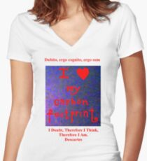 I LOVE MY CARBON FOOTPRINT! Women's Fitted V-Neck T-Shirt