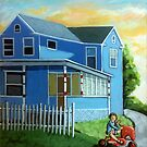 Patriotic -Red,White and Blue 50's House by LindaAppleArt