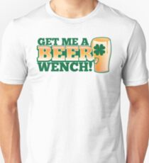 Get me a BEER, Wench! with pint glass and Shamrock  T-Shirt